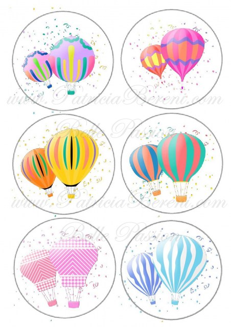 Floating hot air balloons 1 - buttons Text